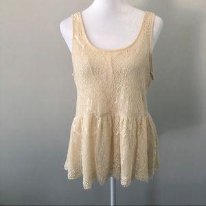 Lucca Couture Tan Lace Peplum Top Size Medium